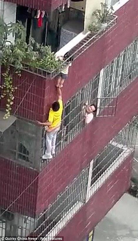 man saves child in china