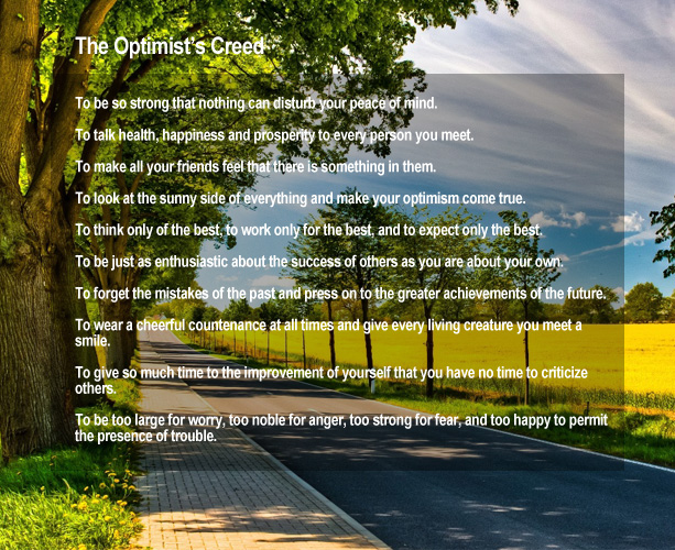 happy promises optimists creed