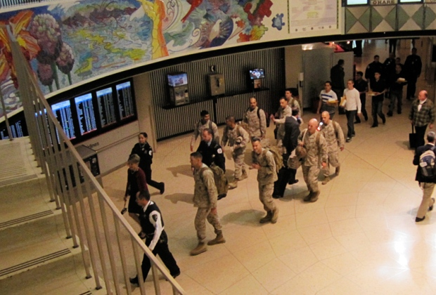 marines saluted at airport