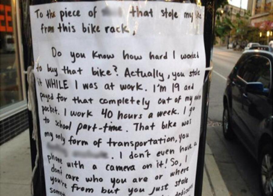 stolen bike note