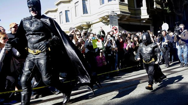 cheering on batkid in san francisco