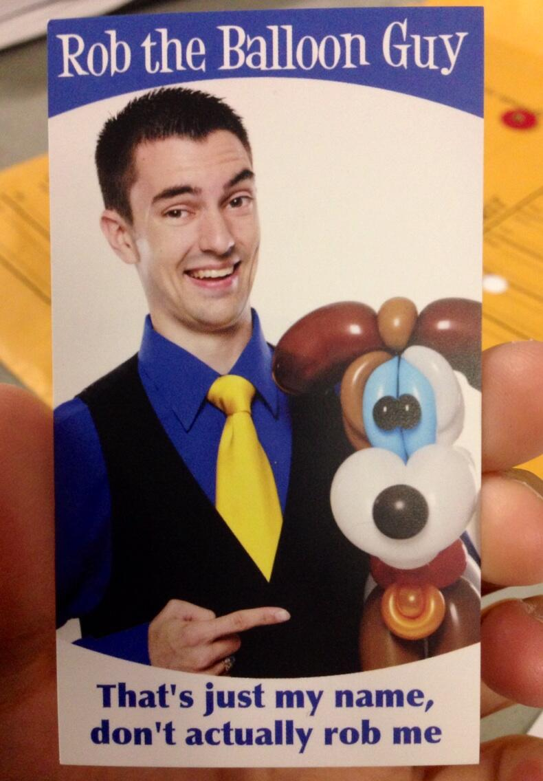 Rob The Balloon Guy Business Card