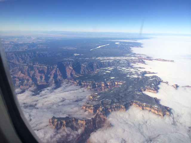 grand canyon filled with fog