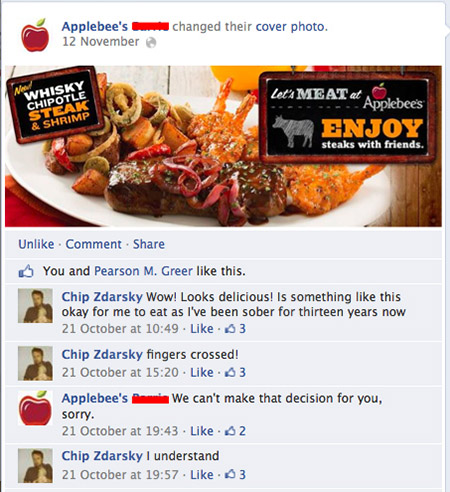 man friends with applebees on facebook