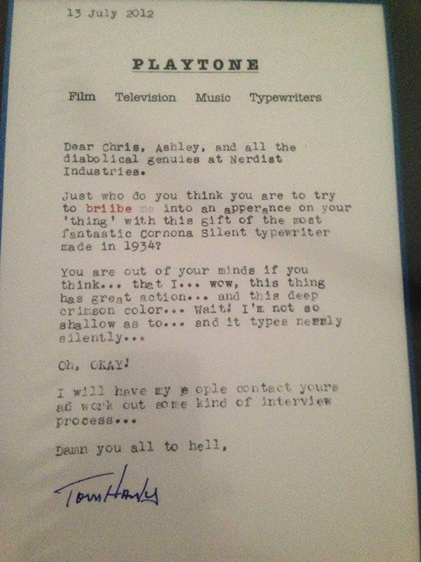 tom hanks letter typewriter