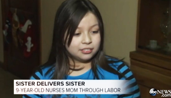 girl delivers sister