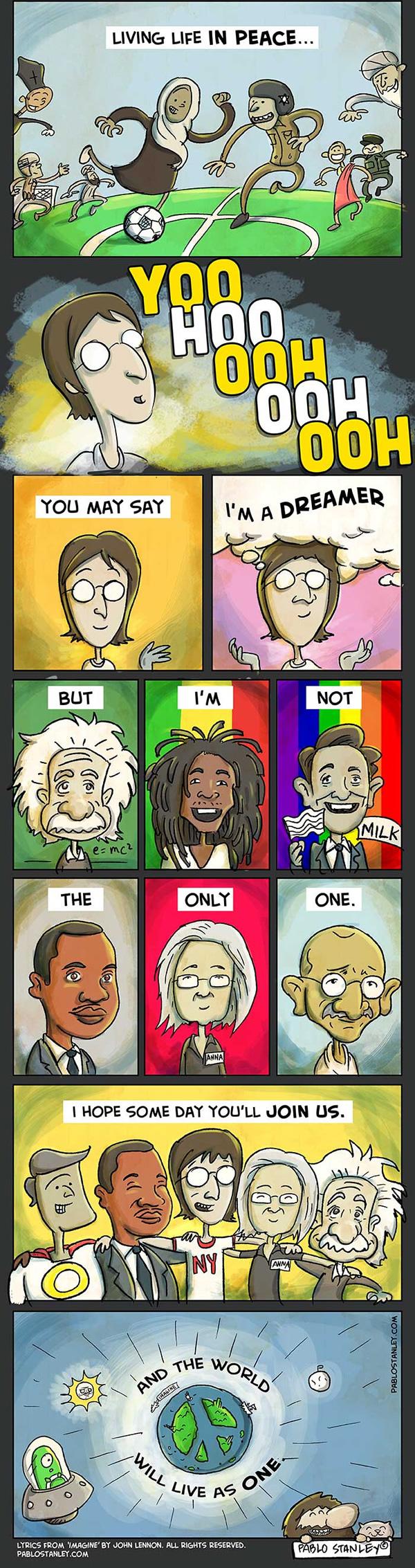 dinfo.gr - Καλλιτέχνης μετέτρεψε το Imagine του Τζον Λένον σε κόμικ. Διαβάστε το..