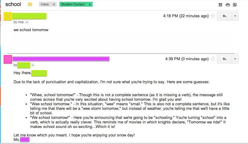 teacher response to email