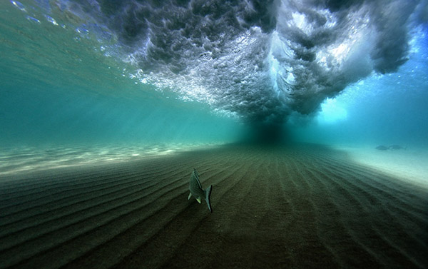 wave rolling from under water