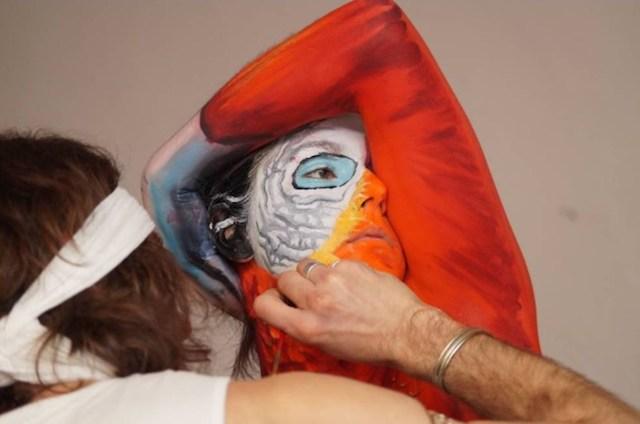 parrot human body paint