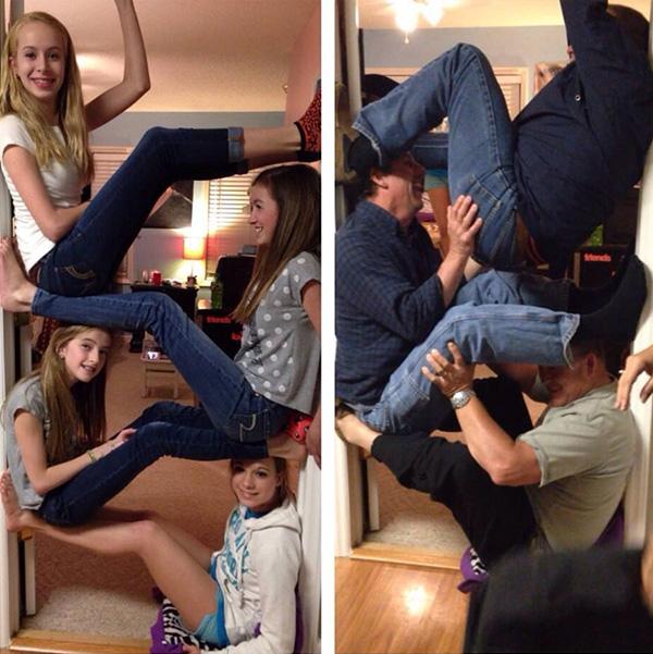 wall climb girls challenge dad