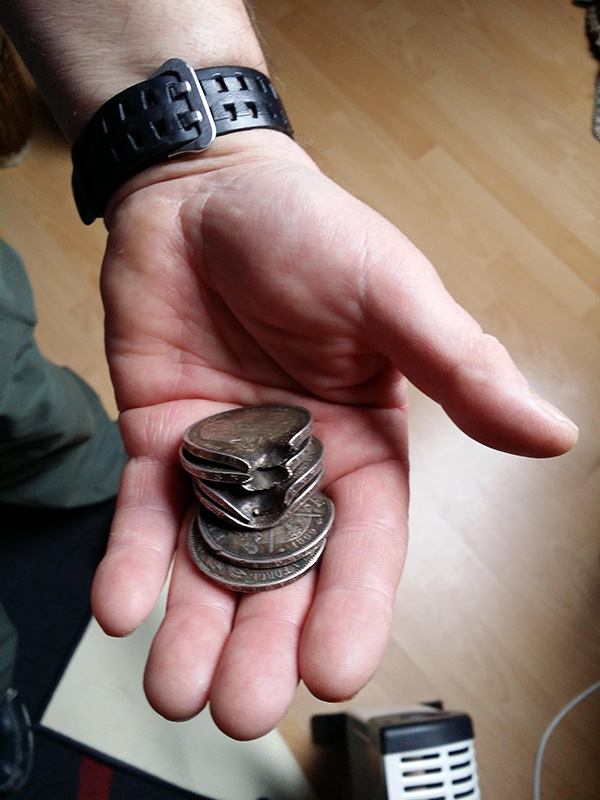 coins stopped bullet
