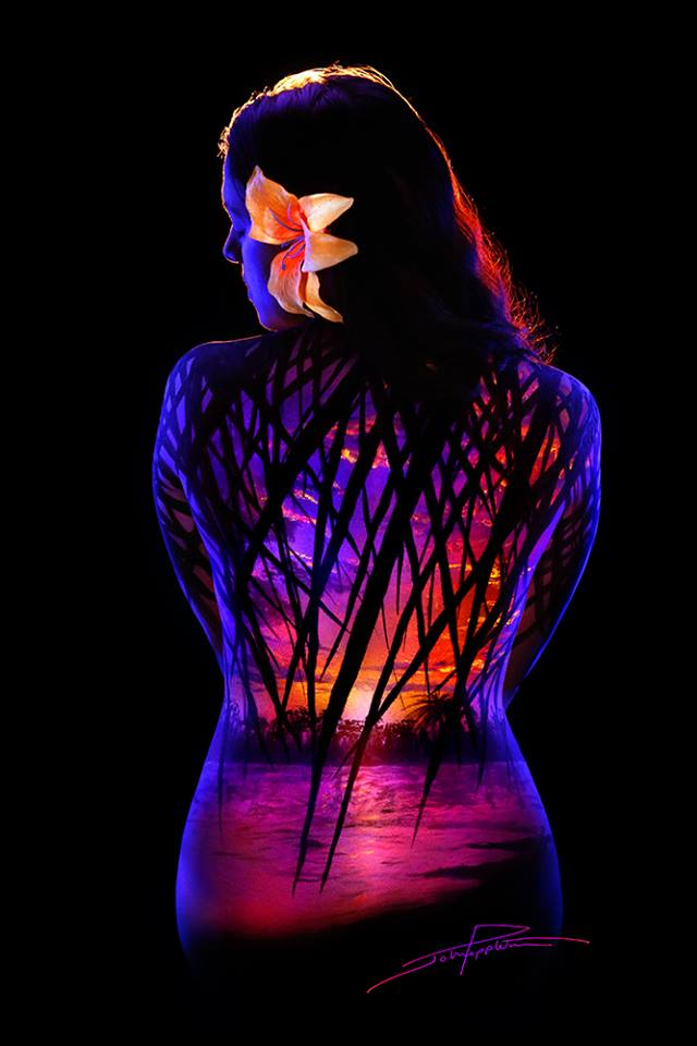 He Paints Fluorescent Materials On Models And When He
