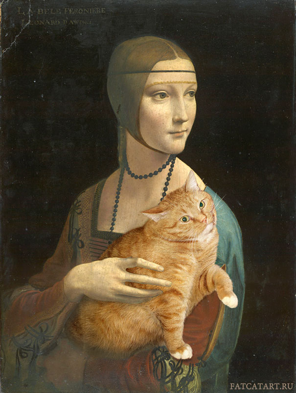fat cat in classic paintings
