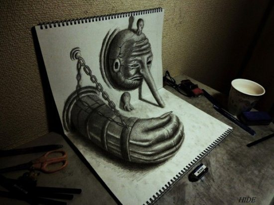 amazing 3D art sketchbooks