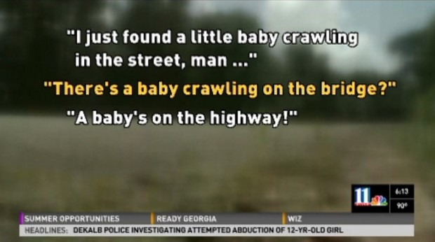 man saves baby on highway