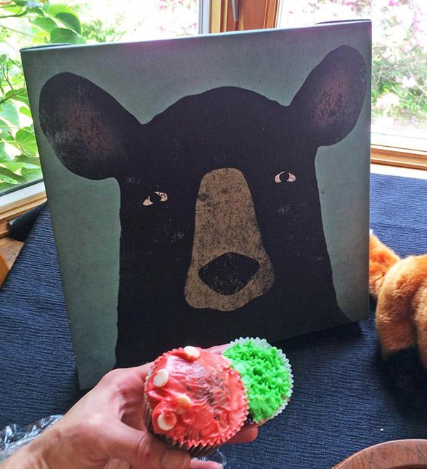 bear eats cupcakes