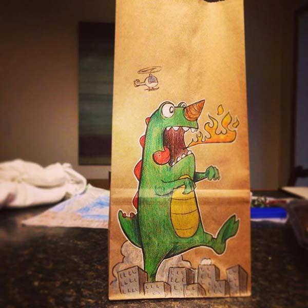 dad lunch bag doodles
