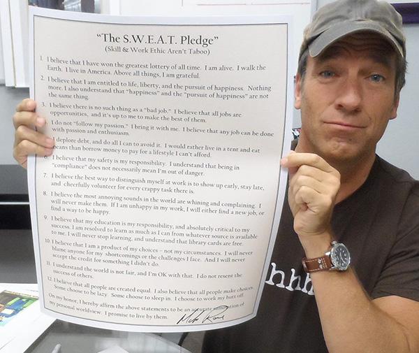 Mike Rowe SWEAT pledge