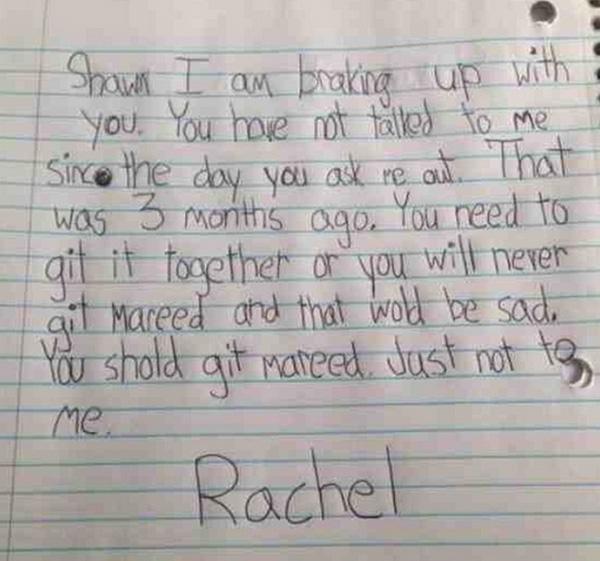 kid break up letters funny
