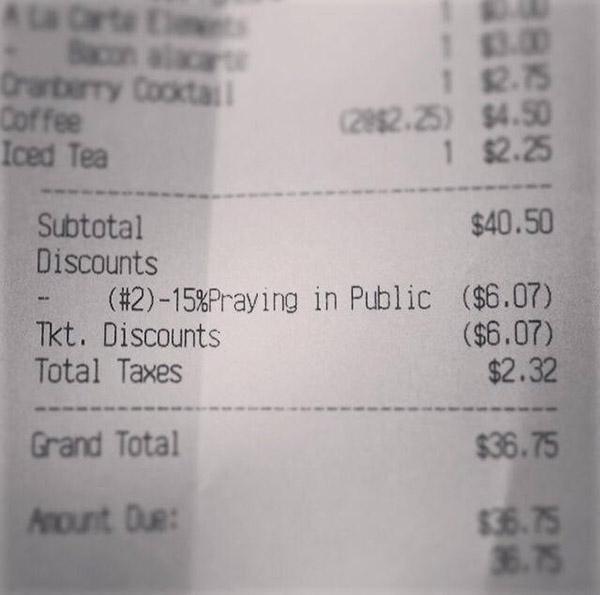 prayer discount receipt