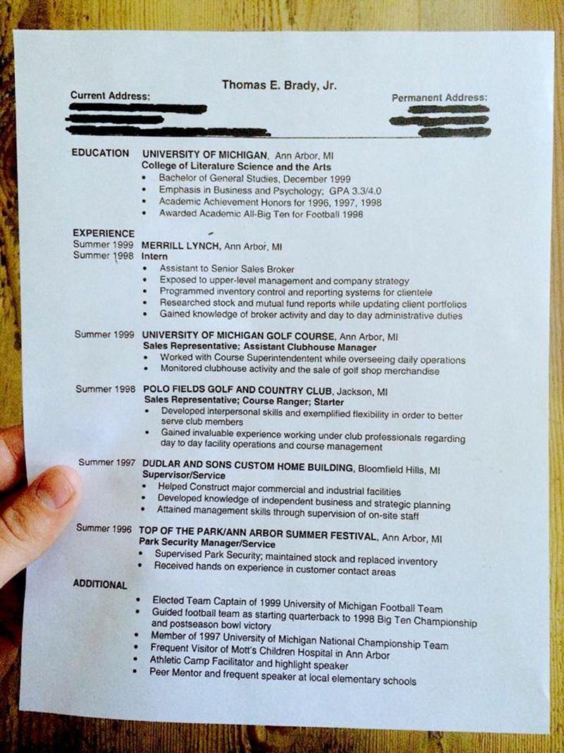 Tom Bradys resume