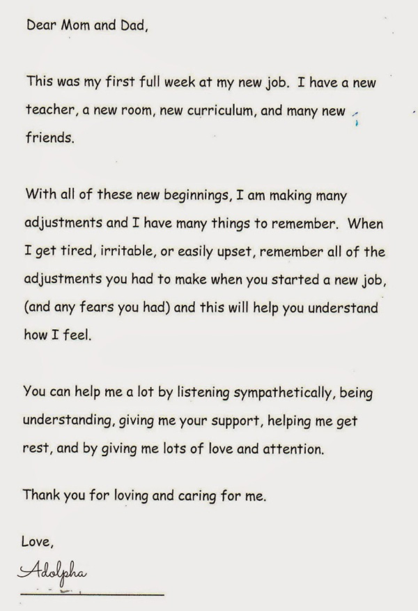 letter from teacher