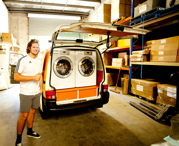 free laundry for homeless from van