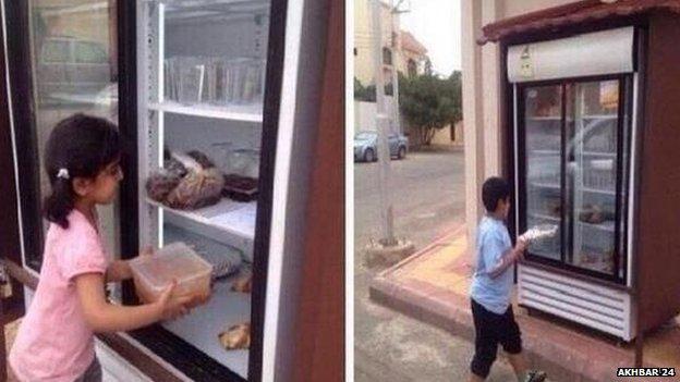 man installs refrigerator on street to feed needy
