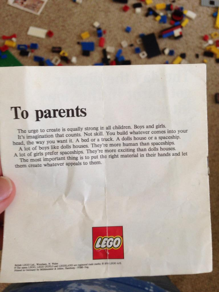 Lego letter to parents