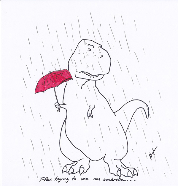 T-rex trying funny cartoons