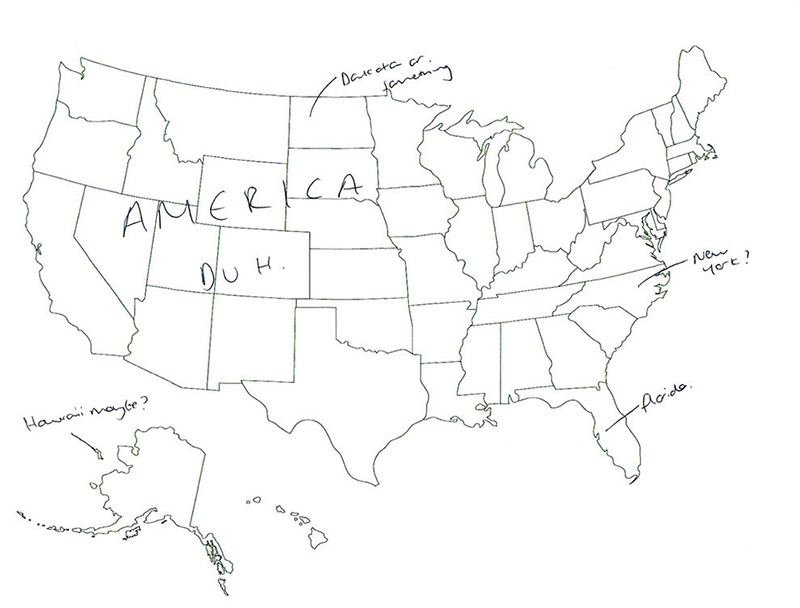 Map Of America Drawing.People In London Tried To Label The 50 Us States On A Map These Are
