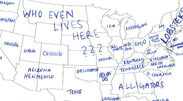 People In London Tried To Label The US States On A Map These - Us maps states