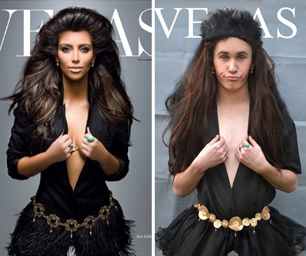 guy dresses up as female celebrities