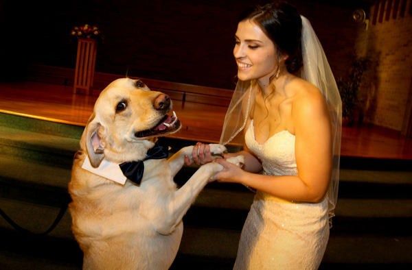 dog and wife dance at wedding
