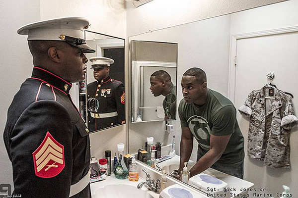 soldiers looking in the mirror