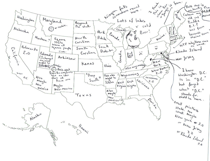 People In London Tried To Label The US States On A Map These - Us map ai