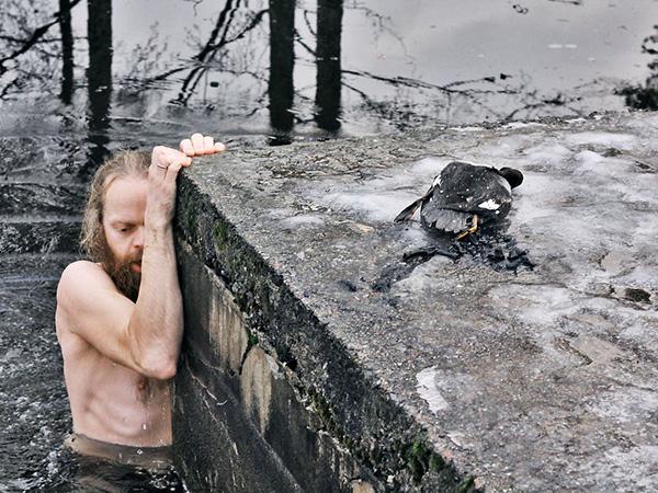 Norwegian man saves duck in ice