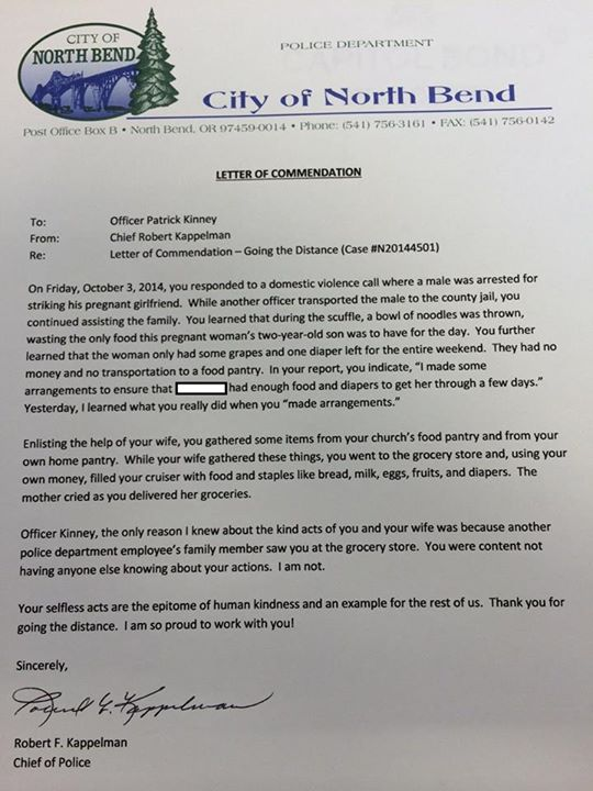A police chief wrote this letter to an officer after hearing about a police chief wrote this letter to an officer after hearing about his selfless act of kindness altavistaventures Image collections