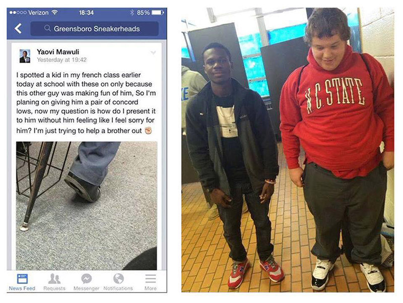 kid gives bullied student new shoes