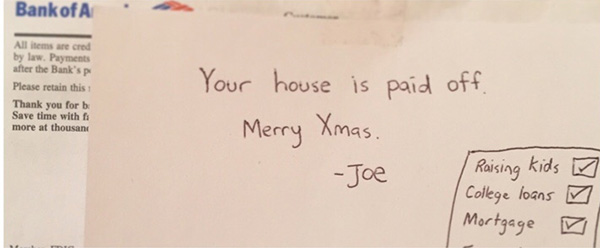 son pays off parents mortgage for Christmas