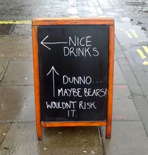 pub sign bears drinks