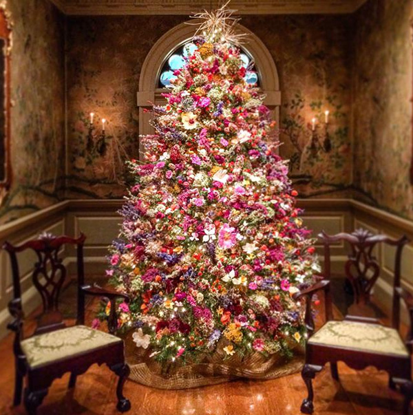 Christmas tree dried flowers