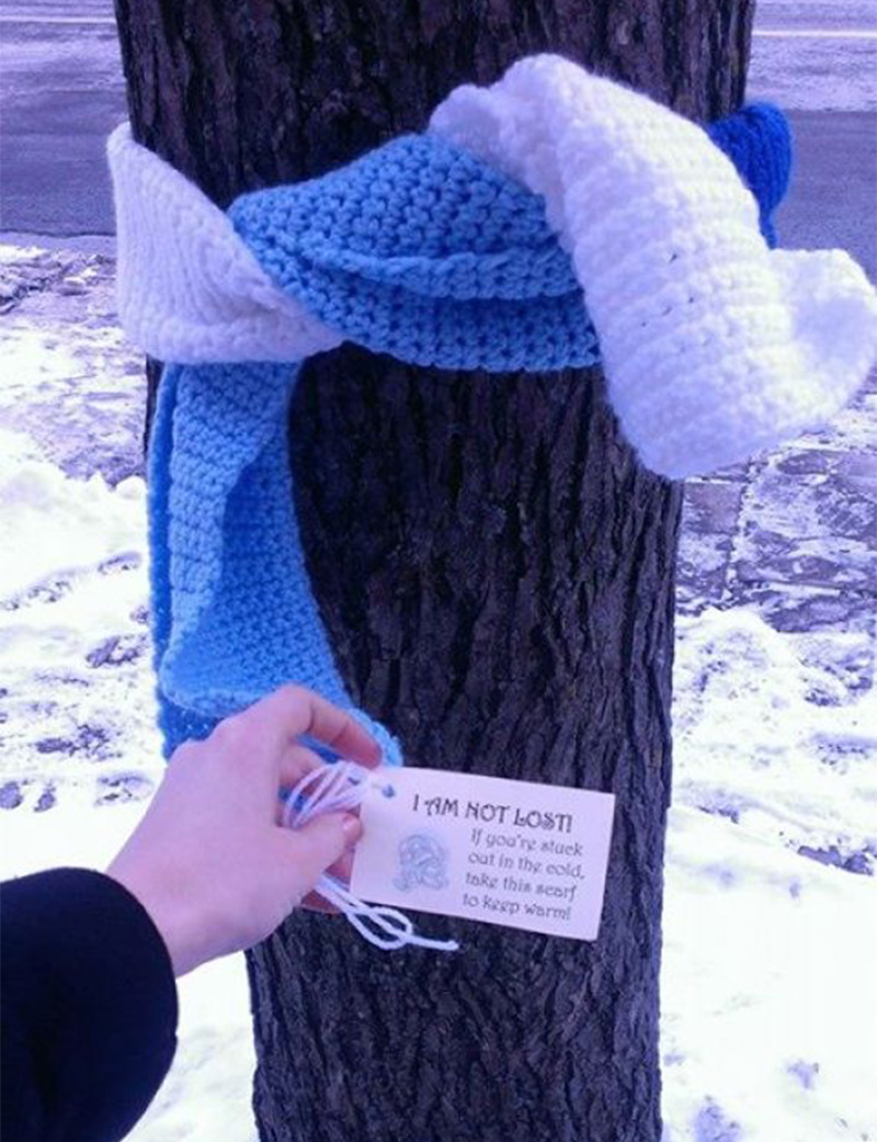 scarves around trees