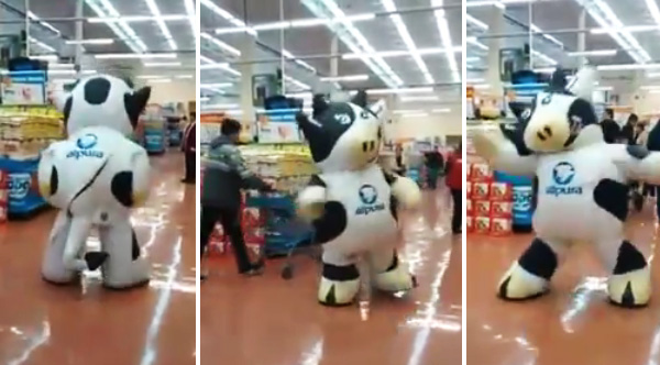 I Love This Dancing Cow Mascot At The Supermarket