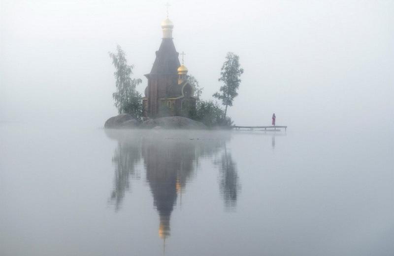 church built on tiny island Russia
