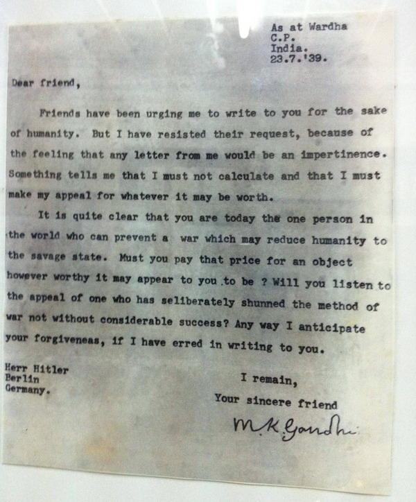 Gandhi letter to Hitler