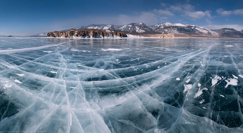 frozen lake beautiful ice