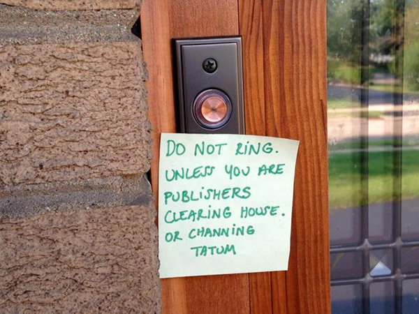 funny doorbell signs from moms
