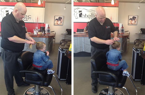 single dad takes hair lessons for daughter
